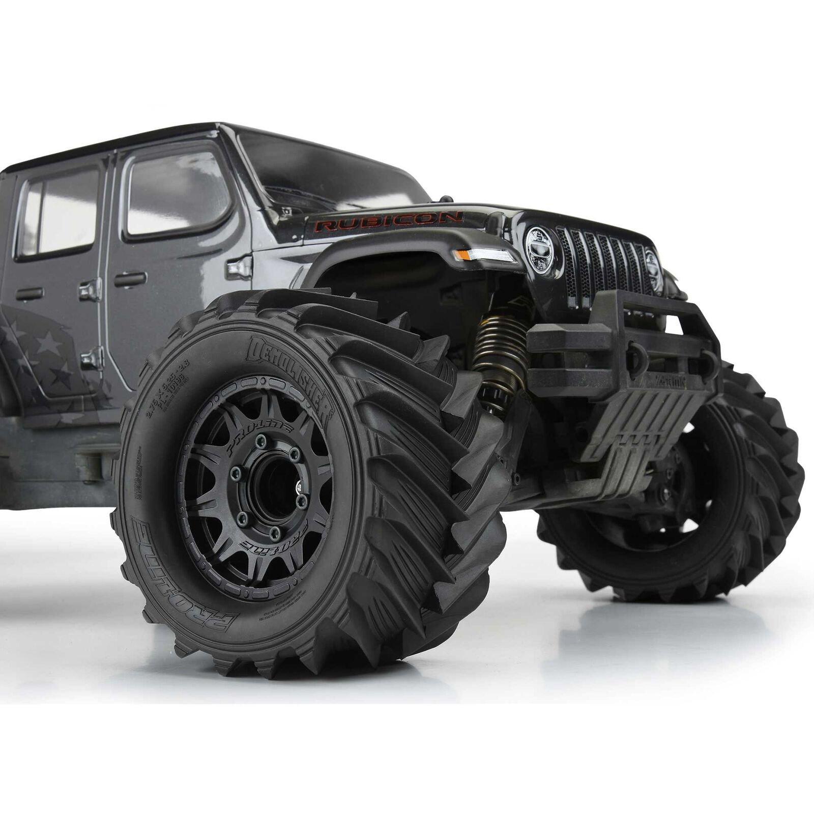 "Proline 1/10 Demolisher  2.8"" Mounted MT 12mm Black Raid Tires"